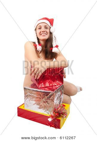 Nude Girl With Present Boxes