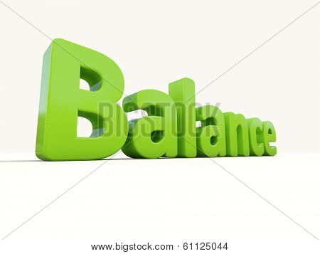 Word balance icon on a white background. 3D illustration.