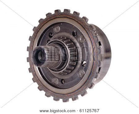 used automotive gears with roller bearing isolated on white