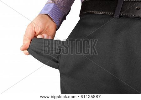 Man Showing Empty Pocket  Hand