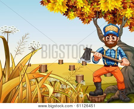 Illustration of a hilltop with stumps and a lumberjack holding an axe