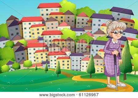 Illustration of a grandmother with a cane walking at the hilltop