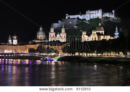 Night view over Salzburg, Austria