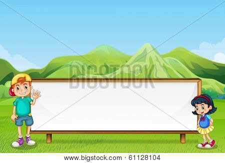 Illustration of a young boy and a young girl beside the empty signboard