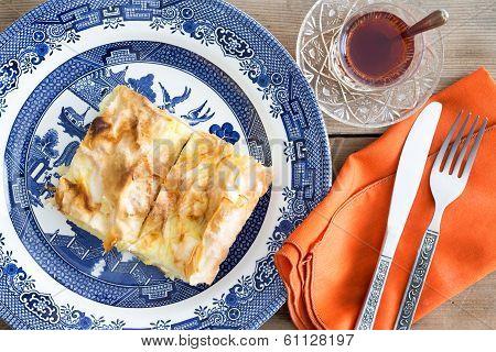 Fresh Homemade Turkish Borek Served With Tea