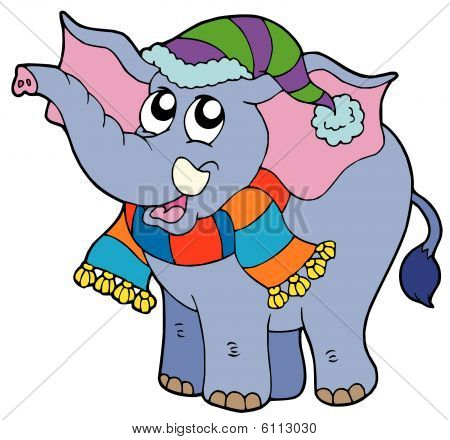 Elephant in winter clothes