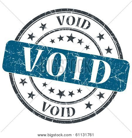 Void Blue Grunge Round Stamp On White Background