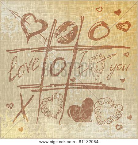 vector Hand drawn Tic Tac Toe Hearts,