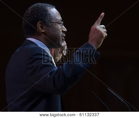 NATIONAL HARBOR, MD - MARCH 8, 2014: Neurosurgeon and author Ben Carson speaks at the Conservative Political Action Conference (CPAC).