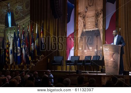 NATIONAL HARBOR, MD -? MARCH 8, 2014: Neurosurgeon and author Ben Carson speaks at the Conservative Political Action Conference (CPAC).