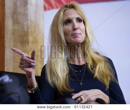 NATIONAL HARBOR, MD - MARCH 8, 2014: Conservative broadcast personality Ann Coulter speaks at the Conservative Political Action Conference (CPAC).