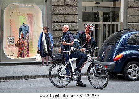 Policeman with Bike