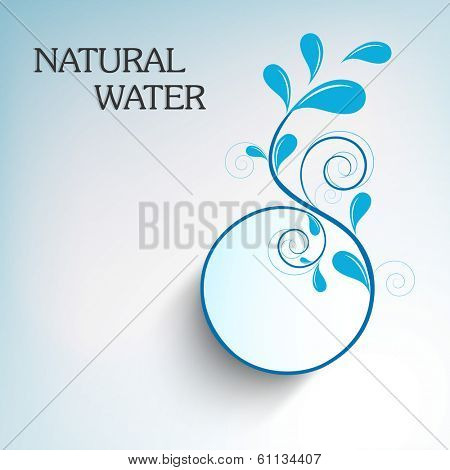 World Water Day sticker, tag or label design with stylish floral design made by water drops and text Natural Water on blue background.