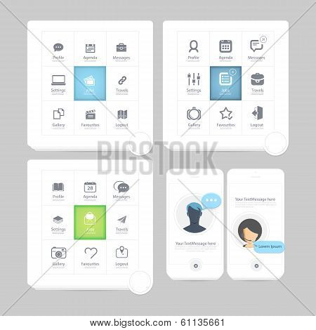 Flat kit UI navigation elements with icons for personal portfolio website and mobile templates