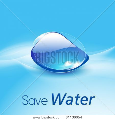 World Water Day concept with glossy water drop and stylish text Save Water on blue background.