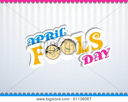 Happy Fool's Day funky concept with stylish colorful text on vintage grey background.