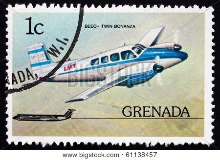 Postage Stamp Grenada 1976 Beech Twin Bonanza, Airplane