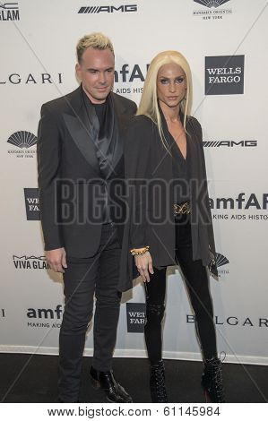 NEW YORK-FEB 5: Designers David Blond (L) and Phillipe Blond attend the 2014 amfAR New York Gala at Cipriani Wall Street on February 5, 2014 in New York City.