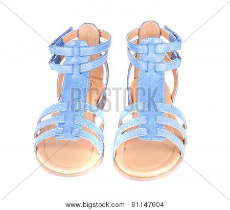 Blue Children's Maiden Sandal Isolated on White Background