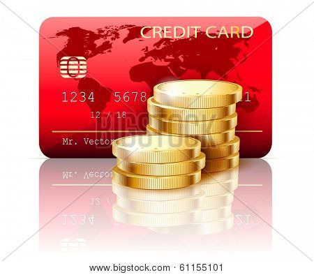 Illustration Credit card and Coins on white background.