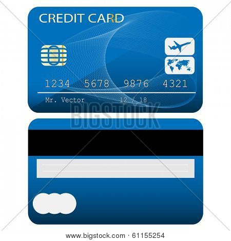 Credit card isolated on white background. illustration.