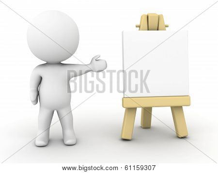 3D Character showing small artsy easel