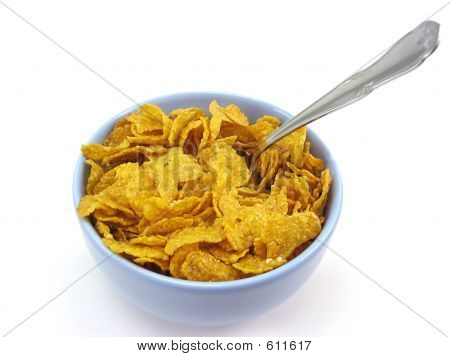 Bowl Of Cereal With Spoon (clipping Path Included)