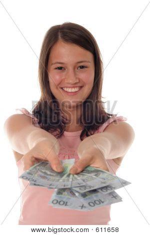Woman Offering Money