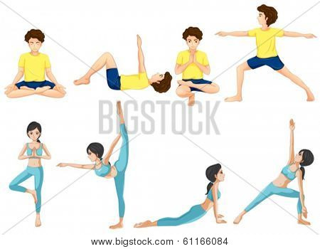 Illustration of the different yoga poses on a white background