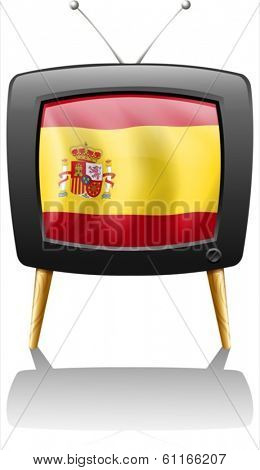 Illustration of a TV with the flag of Spain on a white background