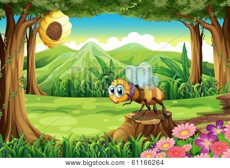 Illustration of a jungle with a bee near the beehive
