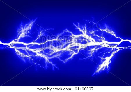 Pure energy and electricity with blue background symbolizing power