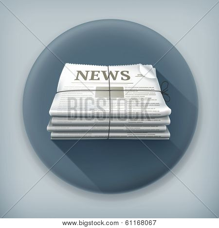 Stack of newspapers, long shadow vector icon