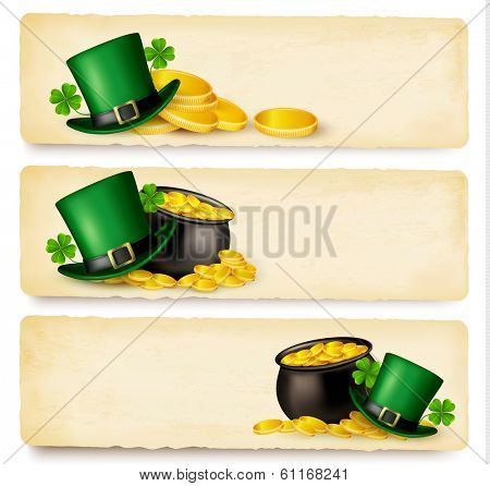 Three Saint Patrick's Day banners with lover leaves, green hat and gold coins in a cauldron. Raster version