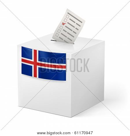 Ballot box with voting paper. Iceland