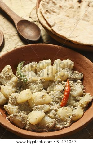 Aloo Posto with Roti - A Potato Dish From Bengal