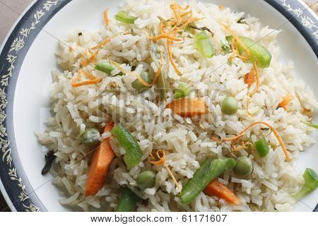 Vegetable Biryani - A Popular Indian Veg Dish Made With Vegetables And Basmati Rice.