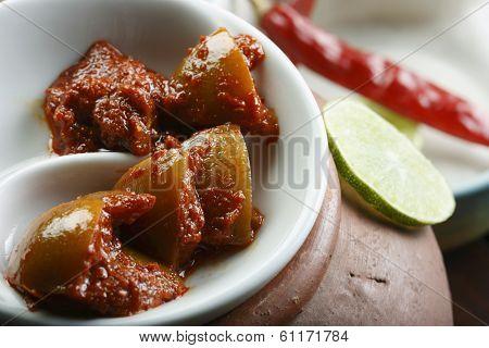 Hot Lemon Pickle - A Popular Spicy Indian Pickle Made Of Lemon Or Nimbu
