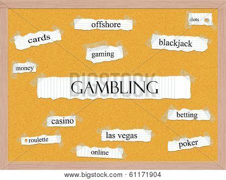 Gambling Corkboard Word Concept