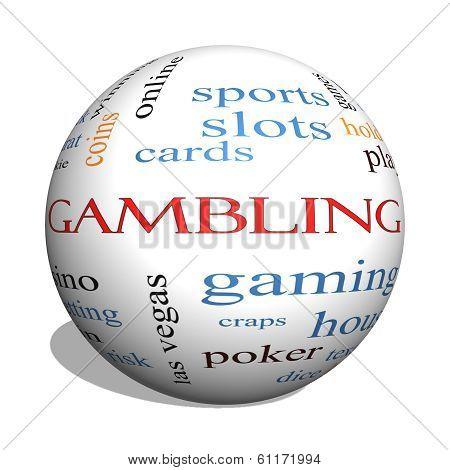 Gambling 3D Sphere Word Cloud Concept