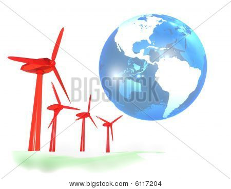 Wind energy farm and blue earth