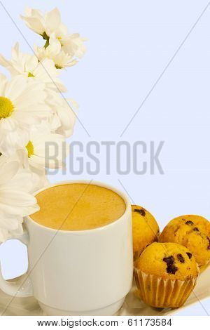 Spring Morning Coffee With Muffins And Daisies