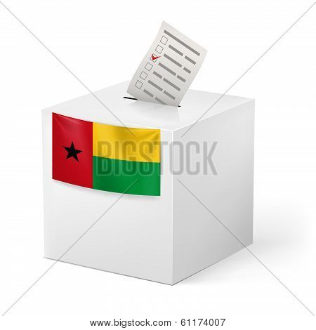 Ballot box with voting paper. Guinea-Bissau