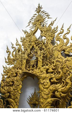 Golden Gable Apex In Wat Rong Khun , Thailand White Temple Chiang Rai Province