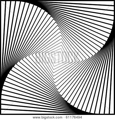 Design Monochrome Twirl Movement Illusion Background. Abstract Strip Torsion Backdrop