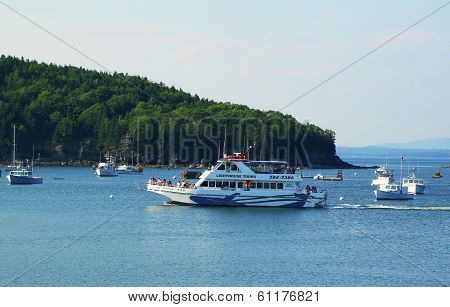 Lighthouse tours boat at the Frenchman Bay in Bar Harbor
