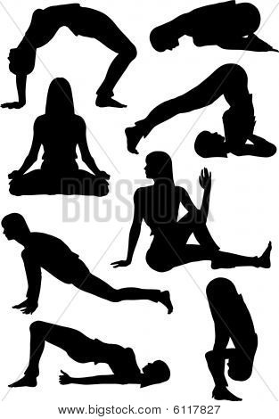 Vector silhouettes of a woman doing yoga