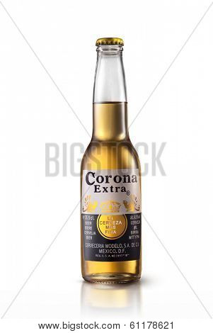 Kiev, Ukraine - March 9, 2014: Photo of Corona Extra Beer bottle isolated on white.