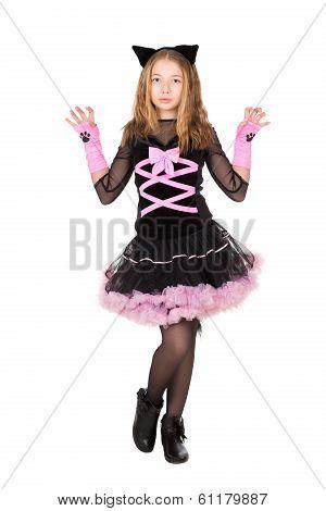 Girl Posing In Black Catsuit