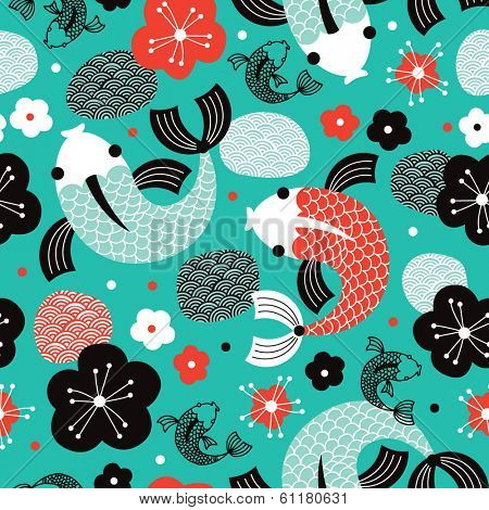 Seamless Koi Carp sushi fish Asian illustration background pattern in vector
